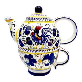 Rooster Themed Deruta Italian Ceramic Teapot / Mug Set La Terrine - a Pair For Sale