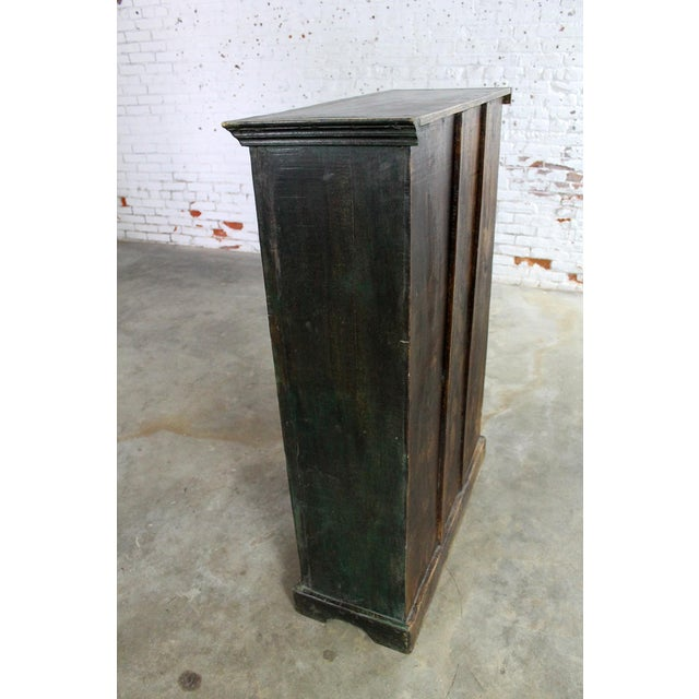 Rustic Primitive Cupboard Storage Cabinet with Distressed Paint For Sale - Image 4 of 11