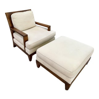 Barbara Barry for Baker Furniture Lounge Chair and Ottoman For Sale