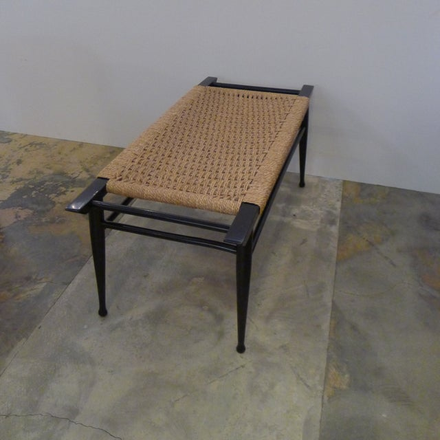 Mid-Century Modern Danish Woven Rush Bench For Sale In Los Angeles - Image 6 of 6