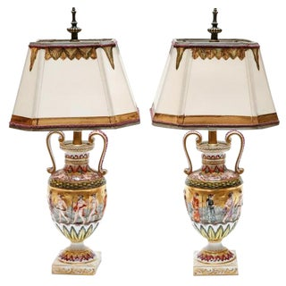 19th C. Italian Capodimonte Porcelain Urn Form Lamps - a Pair For Sale