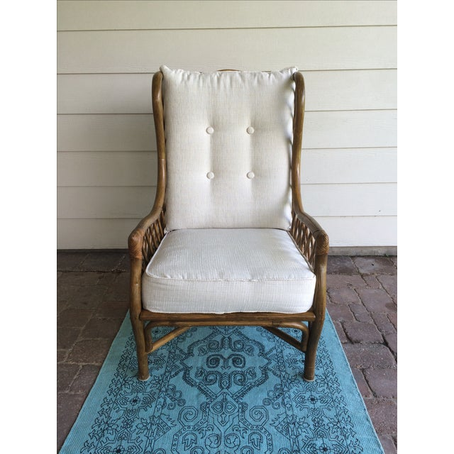 Rattan Wingback Chair & Ottoman - Image 3 of 5