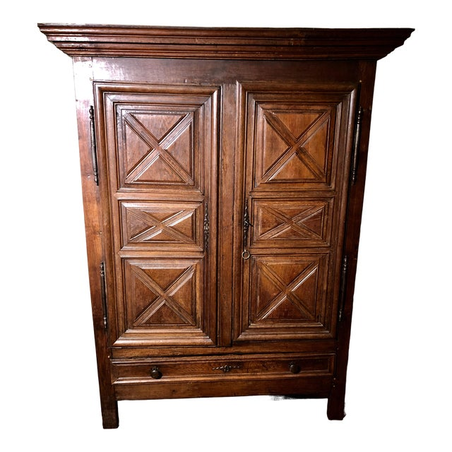 Antique French Louis XIII Raised Croisillons Motifs Armoire For Sale