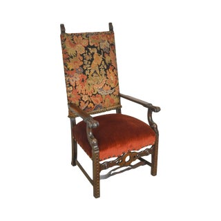 Renaissance Revival Antique Carved Walnut Needlepoint Throne Chair For Sale