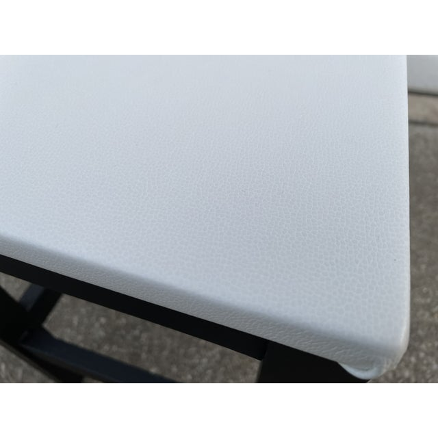 1980s Vinyl Leather Wrapped Top Side Table For Sale - Image 9 of 10