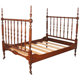1930s Walnut Spindle Full Sized Bed Frame, Newly Polished For Sale