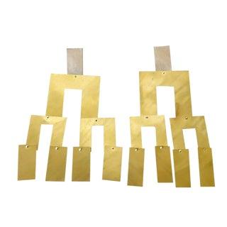 Heidi Abrahamson Sterling Silver Brass Kinetic Earrings For Sale