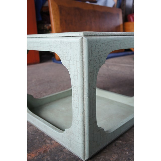 Green 1980s Chinese Baker Form Celadon Green Craquelure End Tables - a Pair For Sale - Image 8 of 13