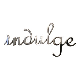 Pottery Barn Silver Metal Indulge Wall Hanging For Sale