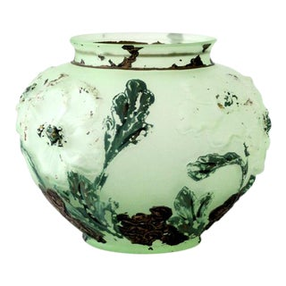 Antique Hand-Painted Glass Vase For Sale
