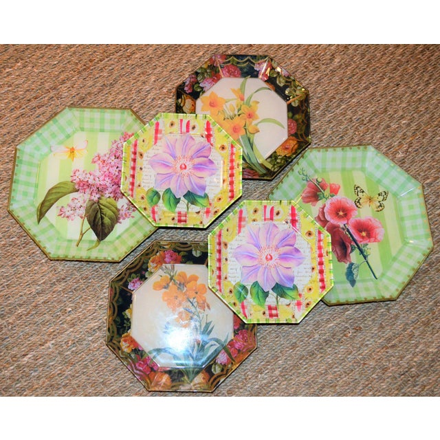 Botanical & Butterfly Decoupage Plates - Set of 6 For Sale - Image 9 of 10