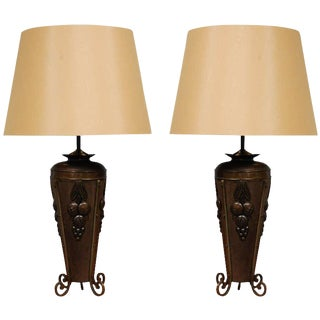 Antique French Deco Urns as Table Lamps - A Pair For Sale
