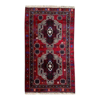 "Tribal Hand Knotted Baluchi Rug - 2' 11"" X 4' 11"" For Sale"