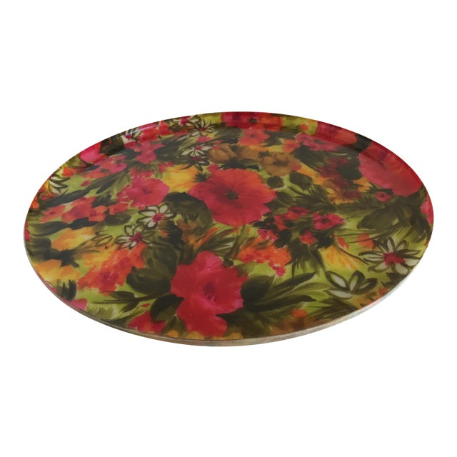 Mid-Century Floral Acrylic Serving Tray - Image 1 of 8