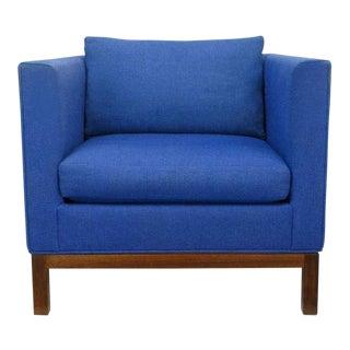 Dunbar Cube Club Chair In Original Blue Wool & Walnut For Sale