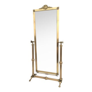 Neoclassical Brass Cheval Tilting Floor Mirror For Sale