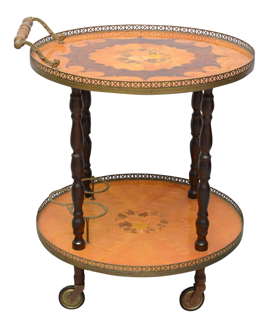 Genial Italian Marquetry Bar Cart Or Tea Trolley By Sorrento, 1960s For Sale