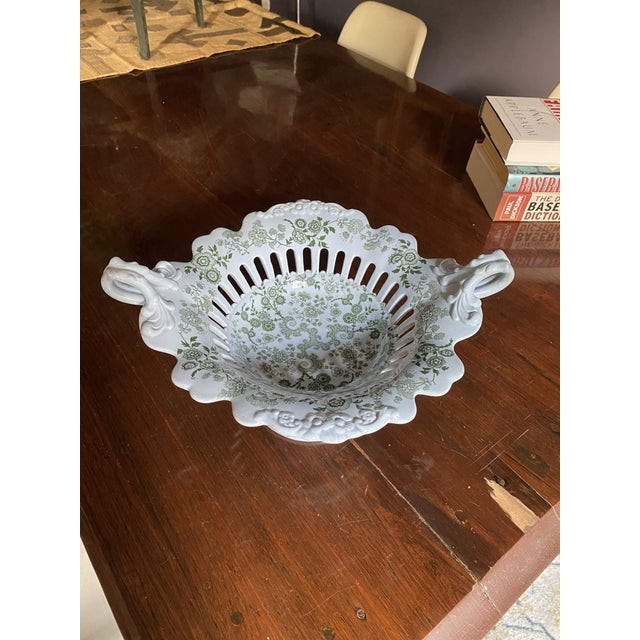 Robin's Egg Blue Mid 19th Century WR& Co William Ridgway 'Flosculous' French Pedestal Compote For Sale - Image 8 of 10