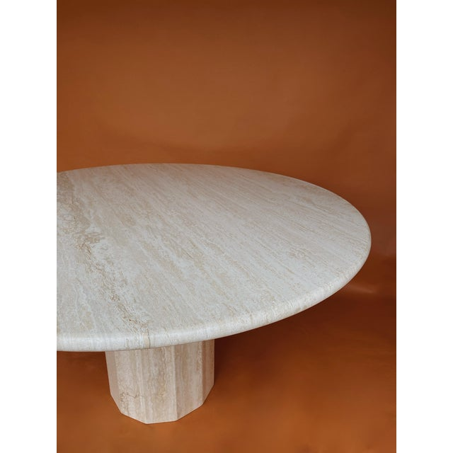 1970s Vintage Italian Stone International Travertine Dining or Entry Table For Sale - Image 5 of 8