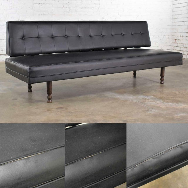 Vintage Mid Century Modern Black Vinyl Faux Leather Convertible Sofa by Universal of High Point For Sale - Image 11 of 13