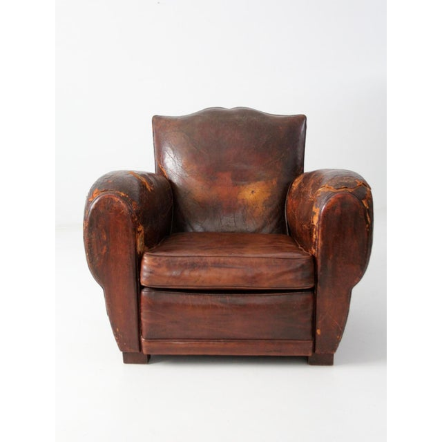 Antique French Distressed Leather Club Chair For Sale - Image 11 of 11 - Antique French Distressed Leather Club Chair Chairish