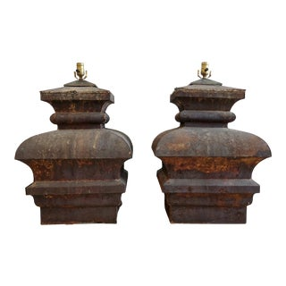 Oversized Antique Tin Capital Table Lamps For Sale