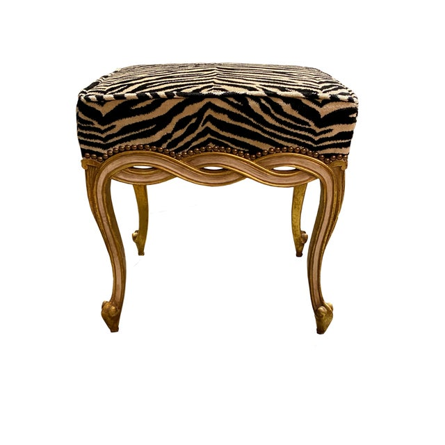 French Regency Style Taboret Benches With Zebra Velvet - a Pair For Sale - Image 3 of 5