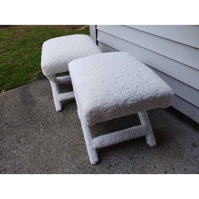 White Vintage Billy Baldwin Style X Benches Faux Shearling - a Pair For Sale - Image 8 of 11