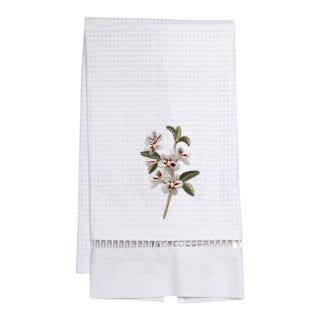 Apple Blossom Guest Towel White Waffle Weave, Ladder Lace, Embroidered For Sale