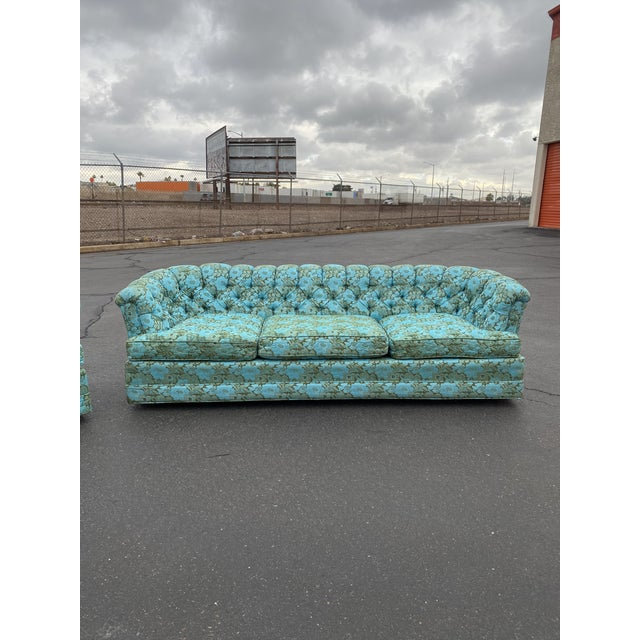 Vintage Tufted Floral Chesterfield Sofa For Sale - Image 4 of 13