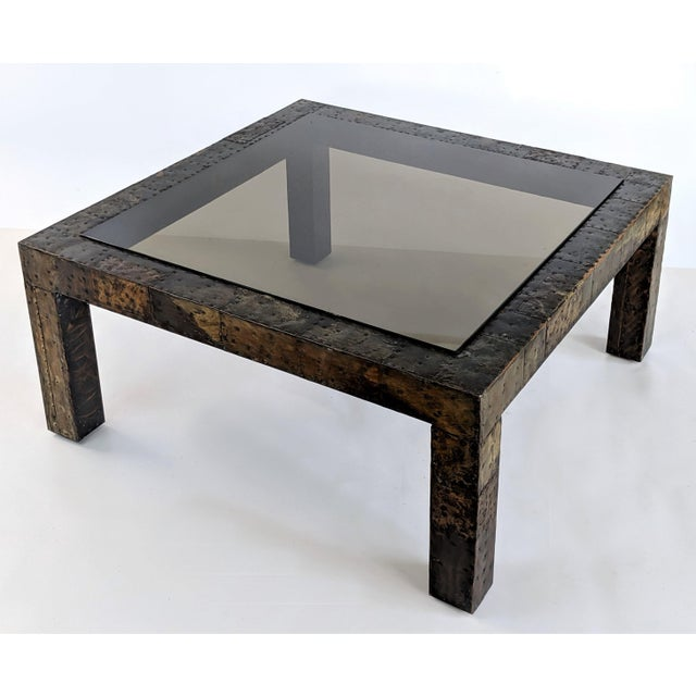 Paul Evans patchwork metal coffee table. The base is a variety of metals patchworked together to create an amazing mosaic...