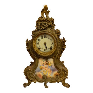 Antique Ansonia Co Ny Rococo Style Brass and Porcelain Panel Mantle Clock With 2 Candelabras - 3 Piece Set For Sale