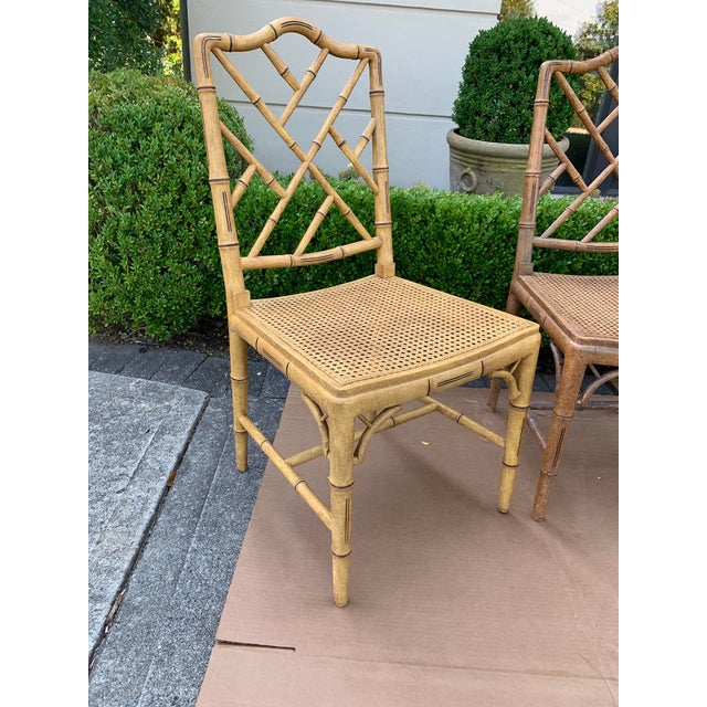 Mid-20th Century Faux Bamboo Dining Chairs- Set of 10 For Sale - Image 4 of 13