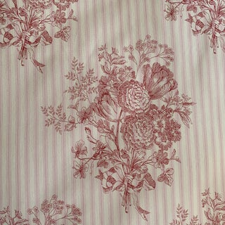 Sister Parish Augusta Pink and Red Ticking Cotton Linen Fabric- 2 1/4 Yards For Sale
