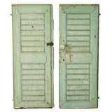 Image of Rustic Antique Original Green Painted Solid Green Doors - a Pair For Sale