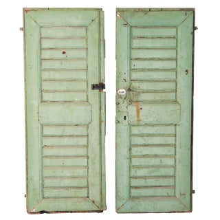 Rustic Antique Original Green Painted Solid Green Doors - a Pair For Sale