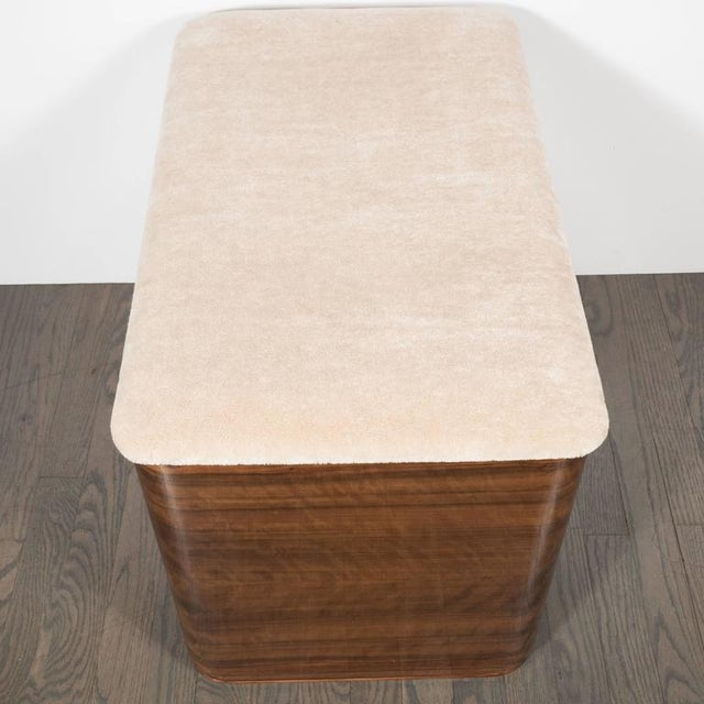 Bakelite Art Deco Machine Age Storage Bench in Bookmatched Walnut and Camel Mohair For Sale - Image 7 of 10