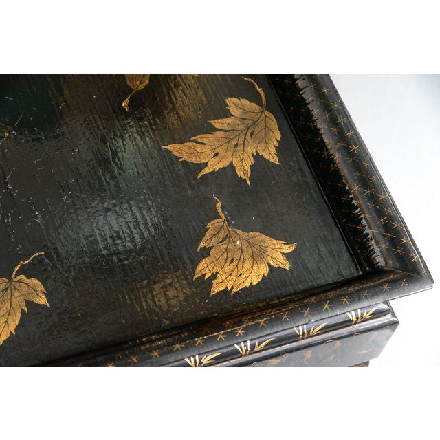 Asian Black Lacquer Wood Cocktail Table With Hand Painted Gold Florals For Sale - Image 4 of 13