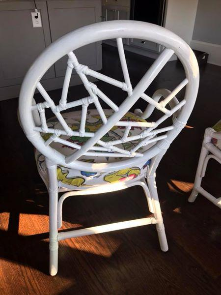 Boho Chic Vintage McGuire Asian Cushion Cracked Ice Rattan Chairs   Set Of  4 For Sale