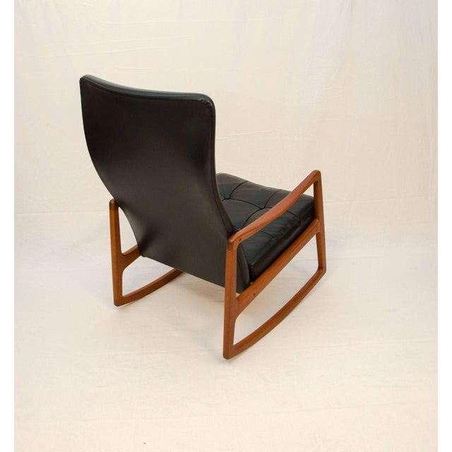 1950s Danish Teak and Leather High Back Rocking Chair by Ole Wanscher For Sale - Image 5 of 11