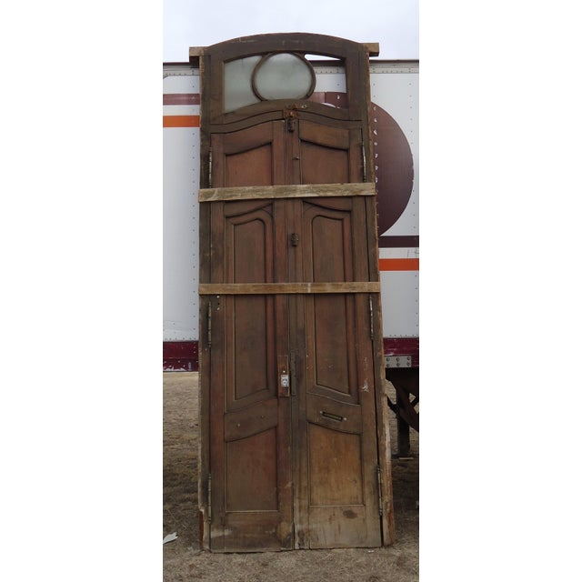 Brown Antique Parquetry Doors with Transom Window For Sale - Image 8 of 12