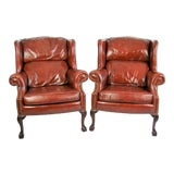 Image of Leather Wingback Chairs, Pair For Sale