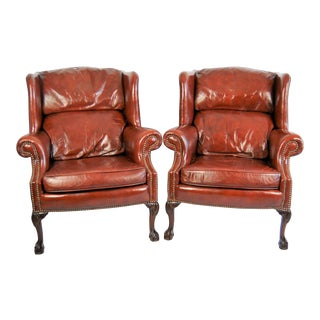 Leather Wingback Chairs, Pair For Sale