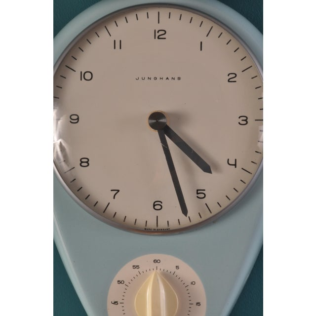 Mid-Century Modern Robin's Egg Blue Wall Clock by Max Bill For Sale - Image 3 of 5