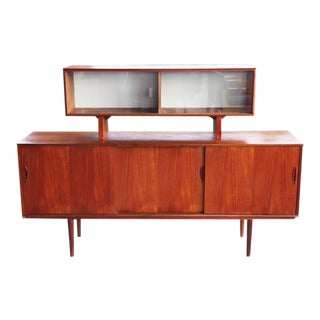 Scandinavian Mid Century Danish Modern Rosewood Two Piece Sideboard & Hutch For Sale