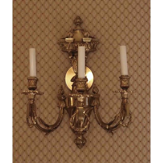 Vintage Waldorf Astoria Heavy Bronze Sconce For Sale - Image 9 of 10