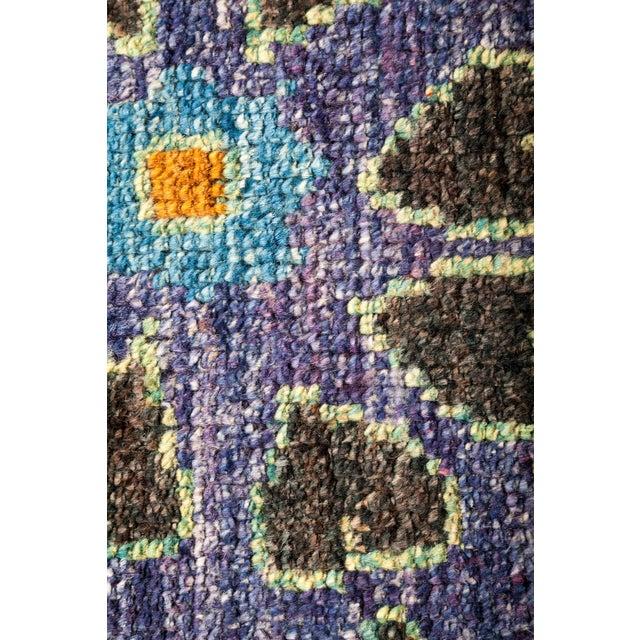 Primitive Blue and Orange Kaitag Rug For Sale - Image 3 of 4