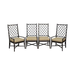 Selamat Designs Set of 4 Rattan High Lattice Back Ambrose Dining Chairs