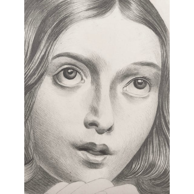 19th C Portrait Drawing of a Young French Girl - Image 4 of 4