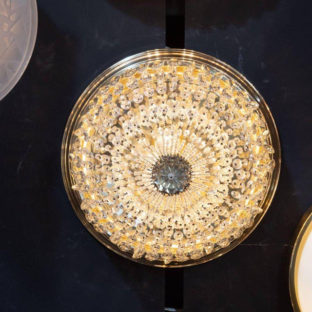 1940s 1940s Hollywood Domed Two-Tier Cut Crystal Flush Mount With Circular Brass Base For Sale - Image 5 of 8